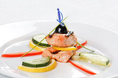 Grilled salmon with lemon Stock Image
