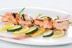 Grilled salmon with lemon Royalty Free Stock Photo