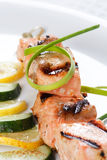 Grilled salmon with lemon Stock Images