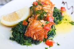 Grilled salmon and lemon Stock Photo