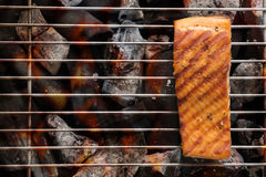 Grilled salmon with lemon on the flaming. Copy space for your te Royalty Free Stock Photo