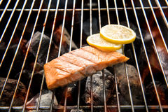 Grilled salmon with lemon on the flaming grill Royalty Free Stock Photos