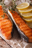 Grilled salmon with lemon macro on paper. vertical Stock Photography