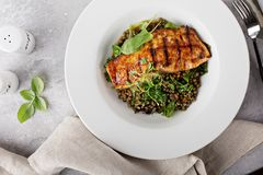 Grilled salmon with lentils and swiss chard. Grilled salmon with lentil salad and swiss chard stock images