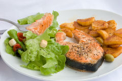 Grilled Salmon with Lettuce 9 Royalty Free Stock Image