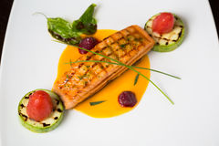 Grilled salmon with lime Royalty Free Stock Photo