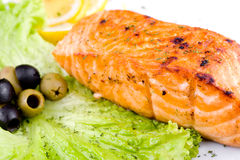 Grilled salmon, macro Stock Photos