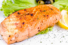 Grilled salmon, macro Royalty Free Stock Photo