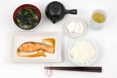 Grilled salmon meal Stock Photo