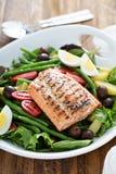 Grilled salmon nicoise salad Stock Image