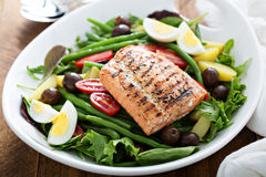 Grilled salmon nicoise salad Royalty Free Stock Image