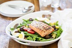 Grilled salmon nicoise salad Stock Photos