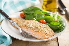 Grilled salmon with nut crust. Served with spinach and tomato stock images