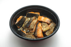 Grilled Salmon over boiled rice in bowl Stock Photography