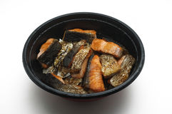 Grilled Salmon over boiled rice in bowl Royalty Free Stock Photography