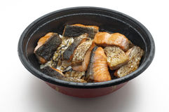 Grilled Salmon over boiled rice in bowl Royalty Free Stock Photos