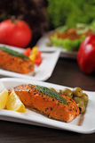 Grilled salmon. Royalty Free Stock Photography