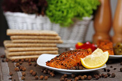 Grilled salmon. Royalty Free Stock Image
