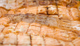 Grilled salmon pieces on white plate at green grass Stock Images