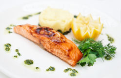 Grilled salmon on plate Stock Photo