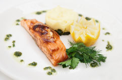 Grilled salmon on plate Royalty Free Stock Photography