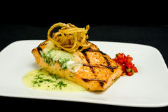 Grilled Salmon Plate Stock Photography