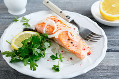Grilled salmon on a plate. Top view Royalty Free Stock Photo