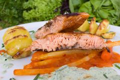 Grilled salmon with potato spirals. Grilled salmon with asparagus in paprika chutney and potato spirals royalty free stock photography