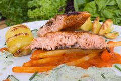 Grilled salmon with potato spirals. Grilled salmon with asparagus in paprika chutney and potato spirals stock image