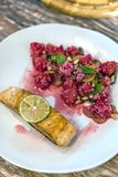 Grilled Salmon with raspberry Stock Photos