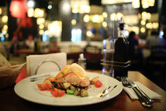 Grilled salmon in restaurant Royalty Free Stock Photo