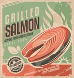 Grilled salmon. Retro poster design. Fresh fish steak on barbecue vintage ad template. Unique promotional concept for bistro or restaurant on old paper texture Stock Image