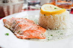 Grilled salmon and rice Stock Photo