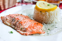 Grilled salmon and rice Royalty Free Stock Images