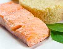 Grilled salmon with rice Stock Photos