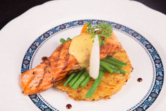 Grilled Salmon rosti with vegetables and bechamel and hollandaise. On black background Royalty Free Stock Photography