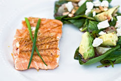 Grilled Salmon and salad Royalty Free Stock Image