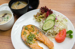 Grilled salmon, salad, chawanmushi and soup miso Royalty Free Stock Photography