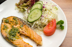 Grilled salmon, salad, chawanmushi and soup miso Stock Photo