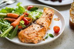 Grilled Salmon with salad Royalty Free Stock Image