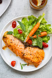 Grilled Salmon with salad Royalty Free Stock Photos