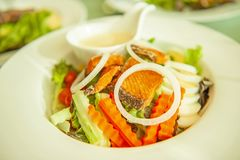 Grilled salmon with salad, onion slice rings, carrot, boiled egg and salad dressing served on white plate. Homemade, healthy food. Selective focus royalty free stock image