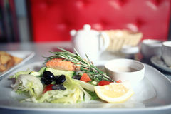 Grilled salmon with salad stock image