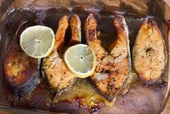 Grilled salmon Salmon Steak. With lemon Stock Photos