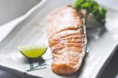 grilled salmon,salmon or Yaki Sake in Japanese food Royalty Free Stock Photography