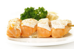Grilled salmon with salt Royalty Free Stock Photos