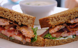 Grilled salmon sandwich on Royalty Free Stock Photography