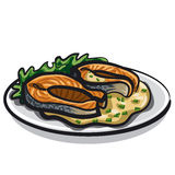 Grilled salmon. With sauce and lettuce Stock Photo