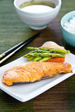 Grilled Salmon with Miso soup and rice Stock Image