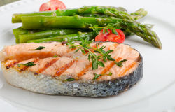Grilled salmon. Selective focus Stock Photo